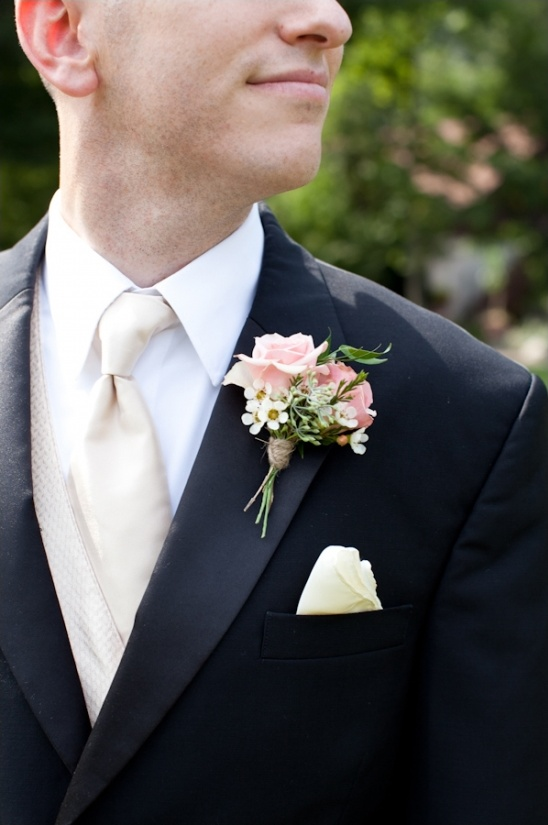 peach and white wedding boutonniere