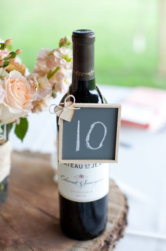 chalkboard table number on wine