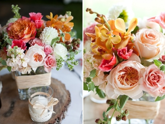 pink, peach and rose wedding florals