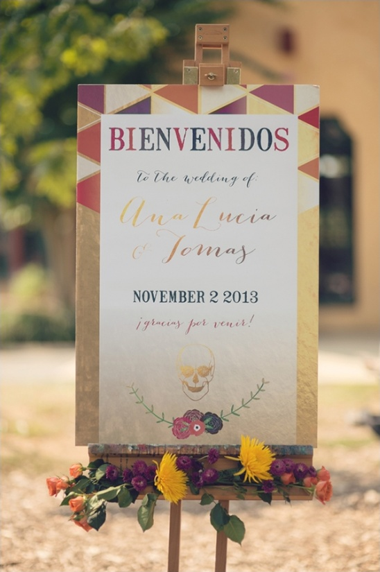 colorful wedding sign for Mexican wedding