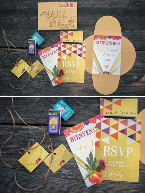 Mexican wedding invites for colorful wedding
