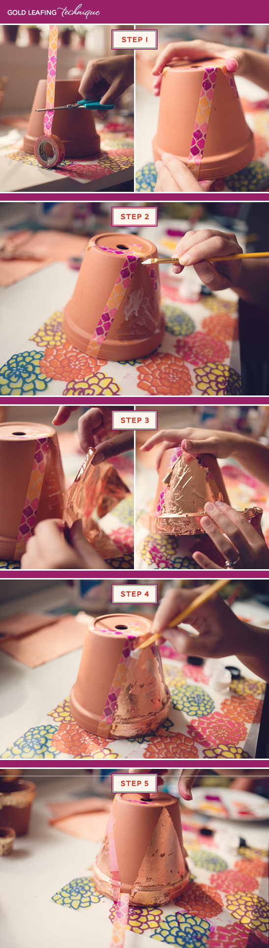 how to gold leaf a terra cotta pot