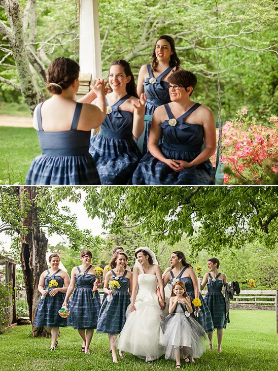 halter blue bridesmaid dresses