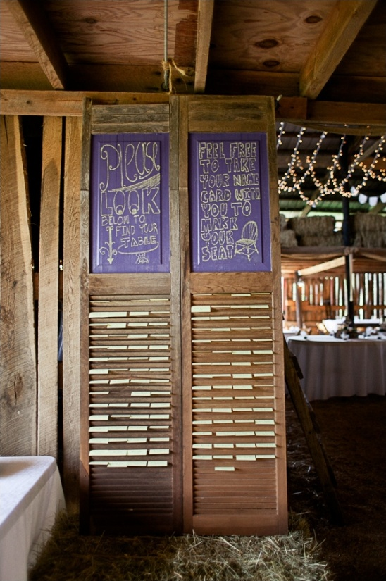 barn door escort card holder