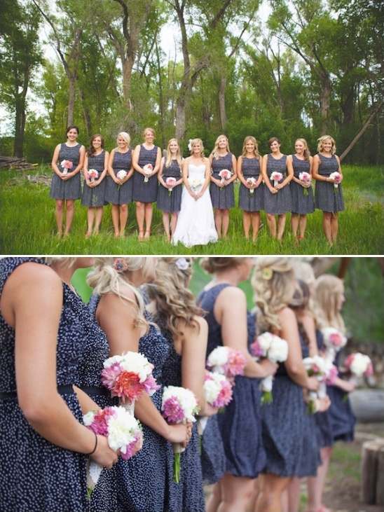 blue bridesmaid dresses with red shoes
