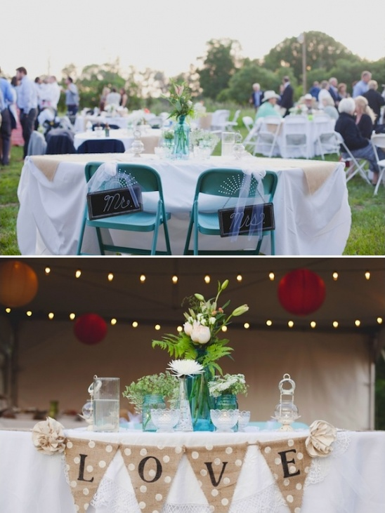 burlap and lace sweetheart table ideas