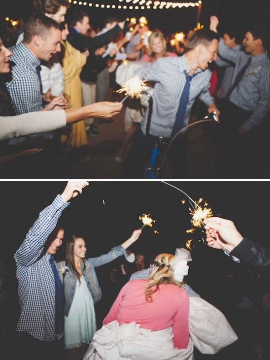 tandem bicycle exit and sparkler send off