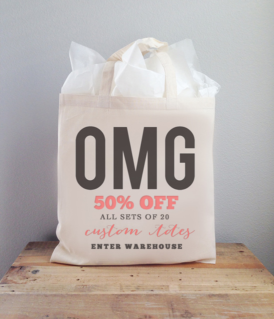 50% off all sets of 20 custom wedding totes