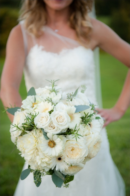 white bridal bouquet by pat's floral designs