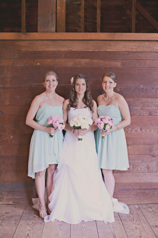 mint bridesmaid dresses and pink peony bouquets