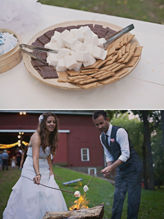 smores at barn wedding