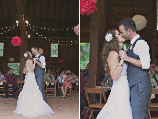 barn wedding dancing