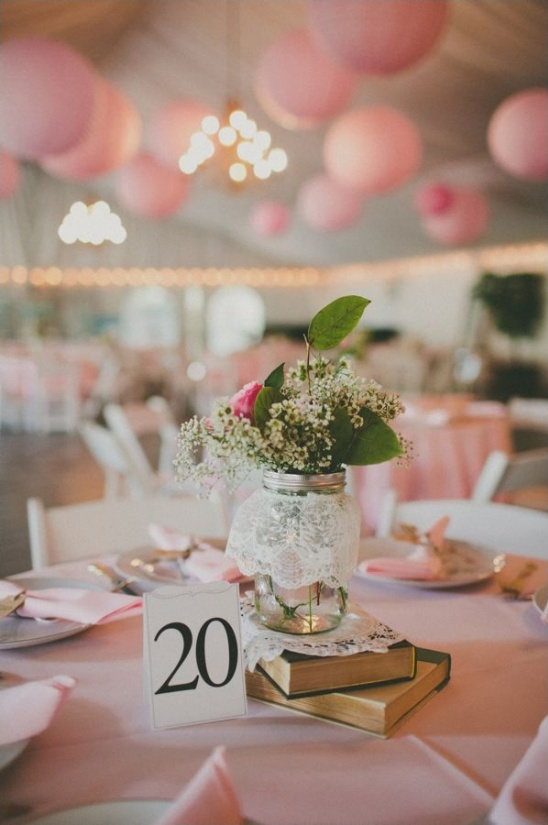 vintage book, mason jar and lace centerpiece ideas
