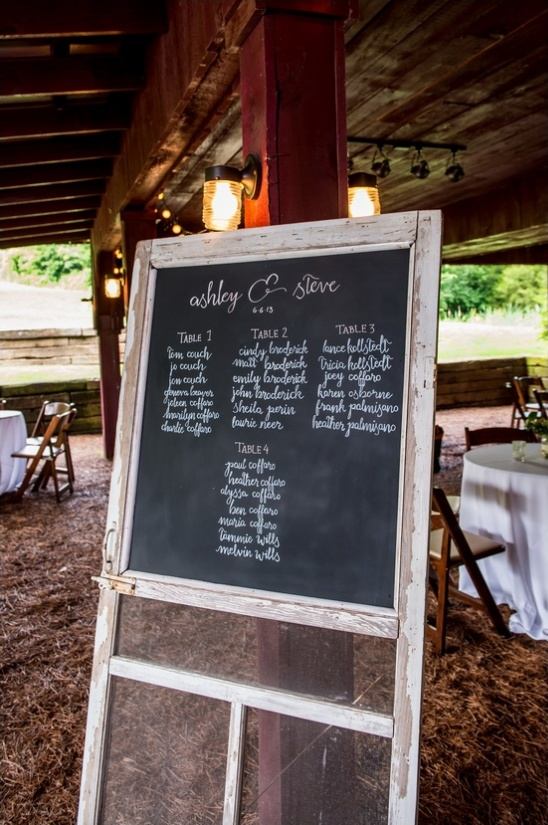 rustic screen door with chalkboard for wedding seat assignments