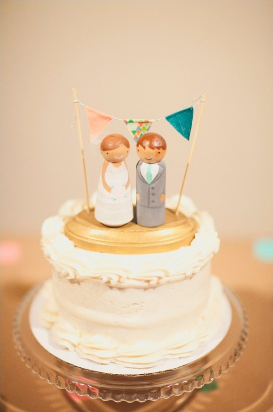 cute wooden wedding cake topper