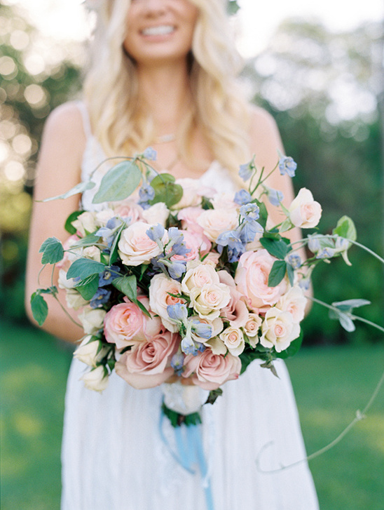pink, peach and blue bouquet