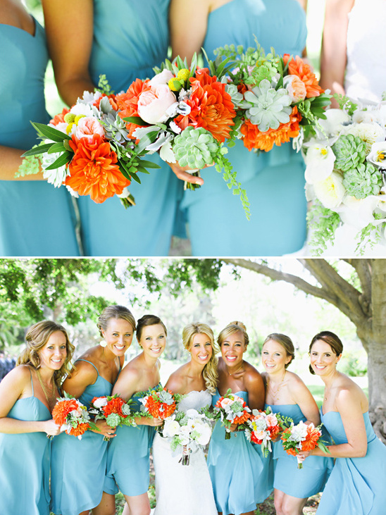 summery bridesmaid bouquets by The Vine's Leaf