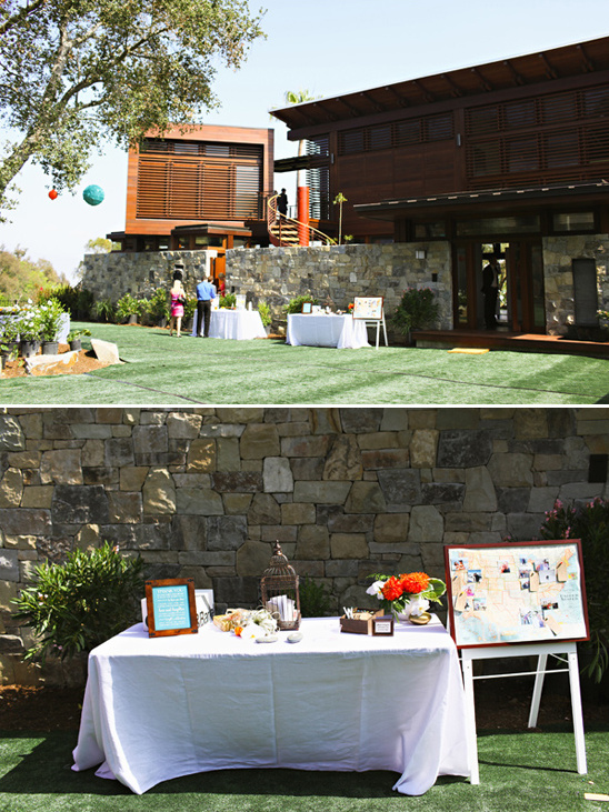 backyard wedding gift and guestbook table