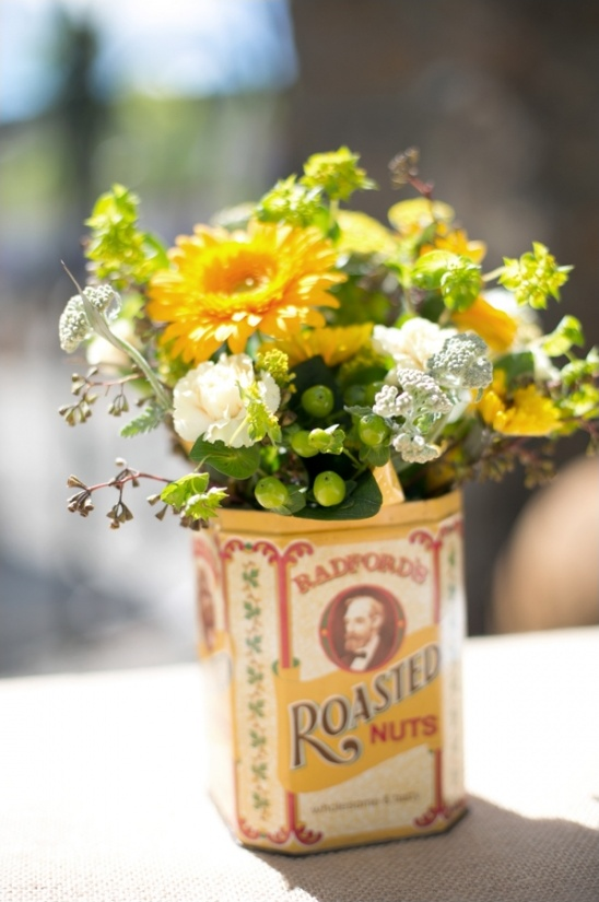 floral arrangement in tin can