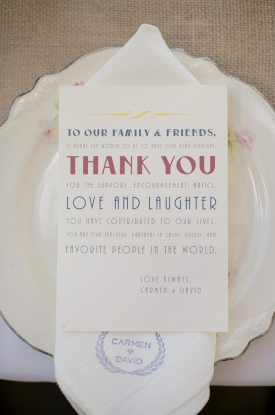 thank you card at table setting