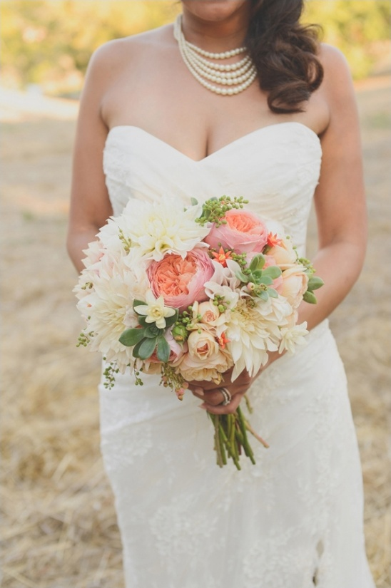 succulent, pink and white bouquet