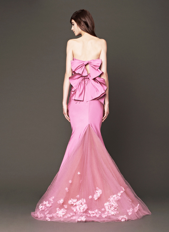 Vera Wang 2014 pink sweetheart mermaid gown with double bow back