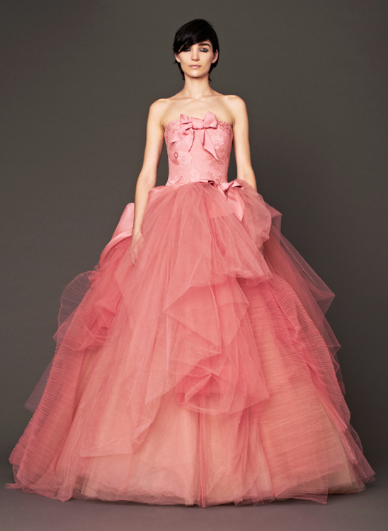Vera Wang Rose strapless silk ball gown