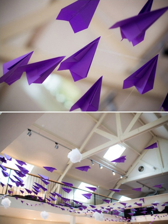 purple airplanes at wedding