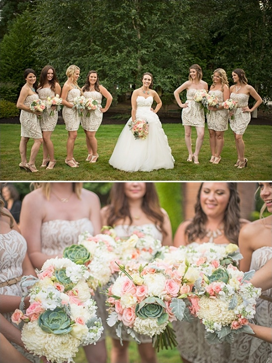 champagne and lace bridesmaid dresses
