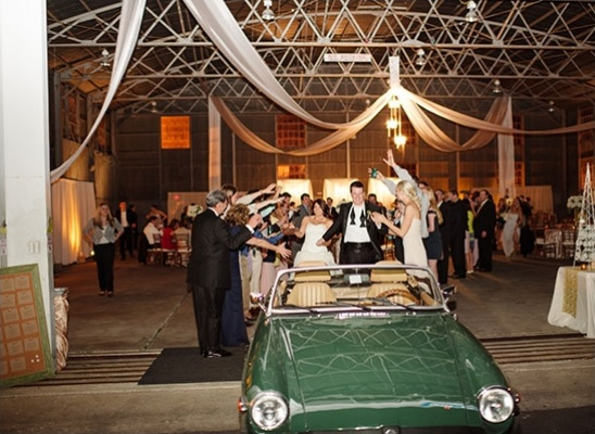 vintage car wedding exit