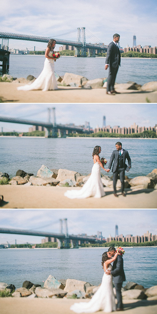 first look urban wedding