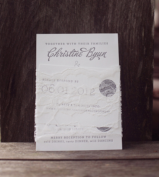 lace and gray wedding invites