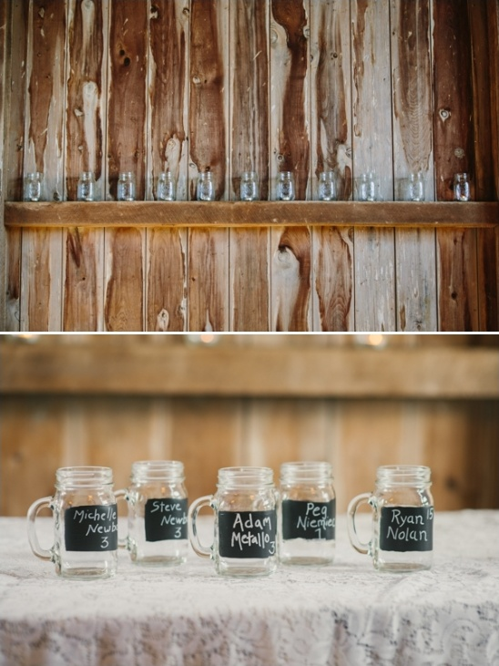chalkboard mason jars with table numbers