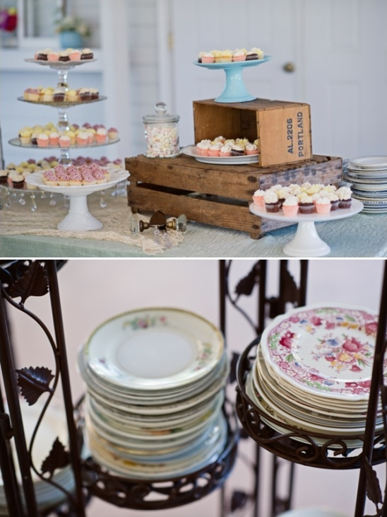dessert table and vintage china
