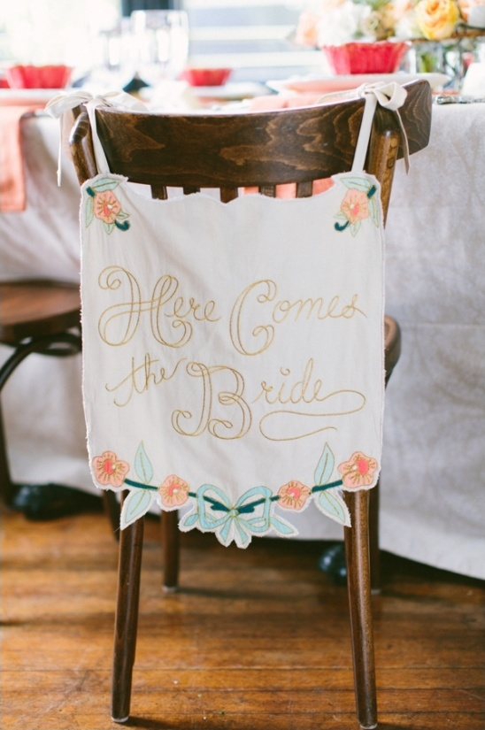 here comes the bride chair banner
