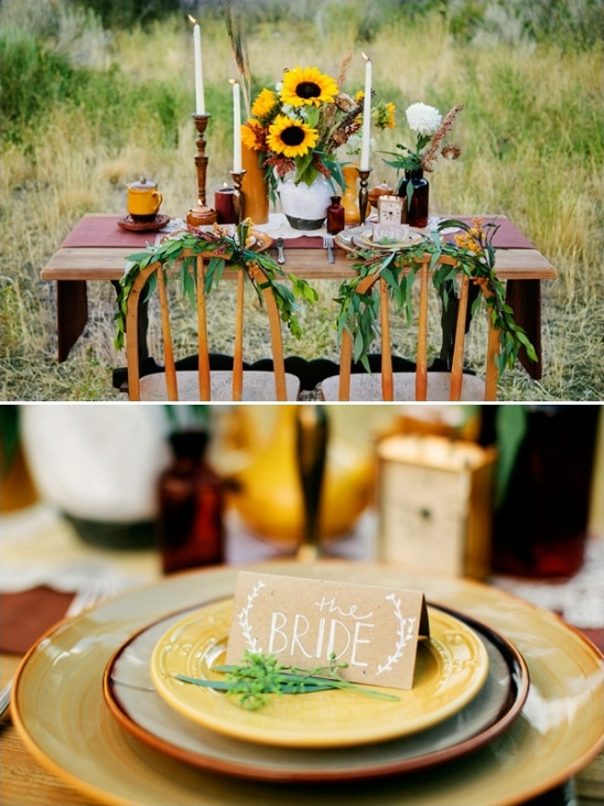 brown and yellow wedding decor