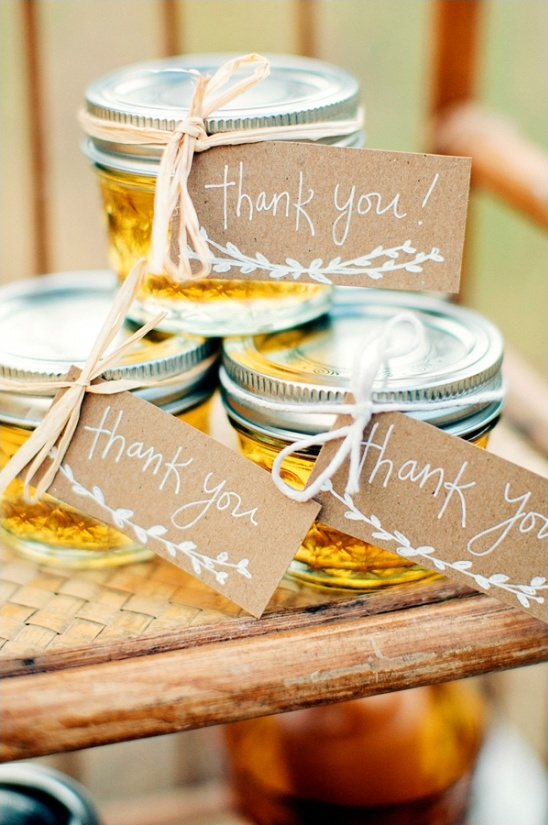 handmade honey jars with thank you labels