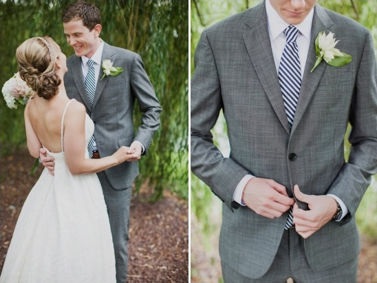 grey and navy groom