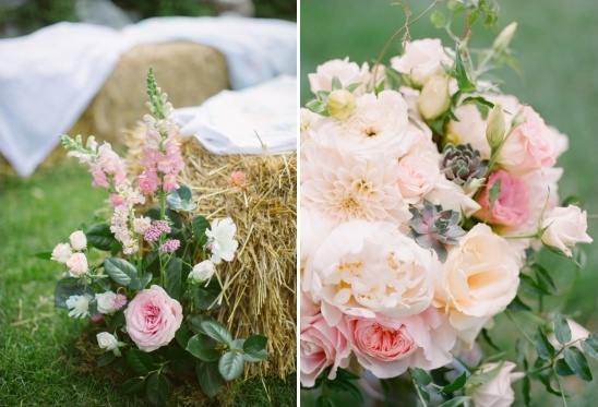 pink and peach aisle flowers