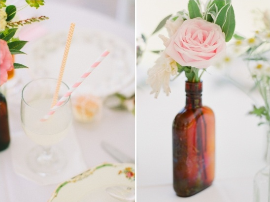 amber vase with florals