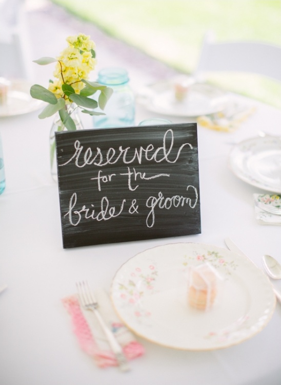 reserved for bride and groom sign