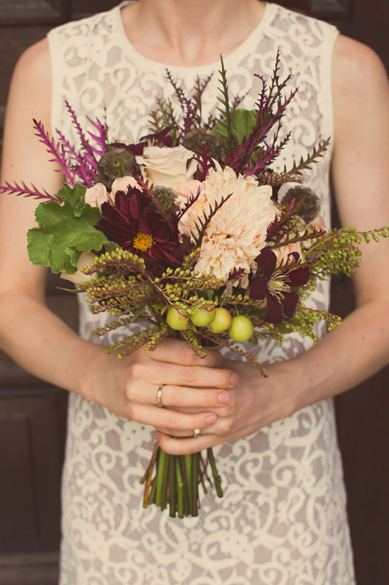 fall purple and green wedding bouquet