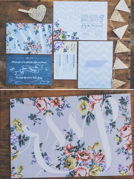 chevron and floral wedding invite