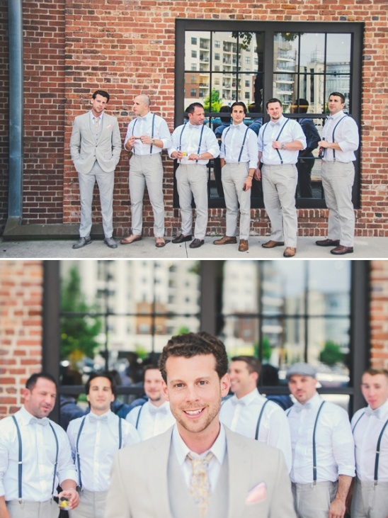 grey groomsmen in suspenders