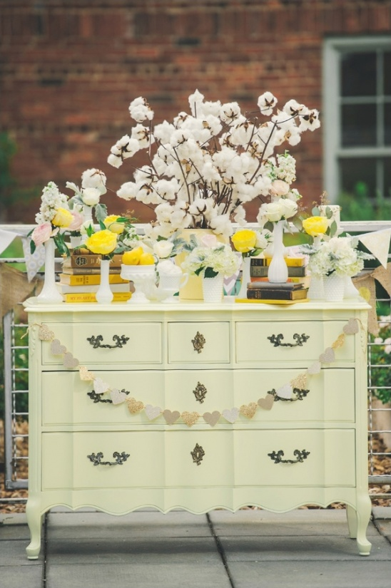 vintage yellow wedding ceremony dresser
