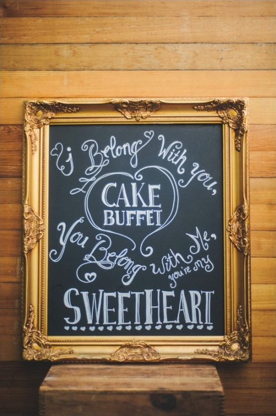 cake buffet chalkboard sign