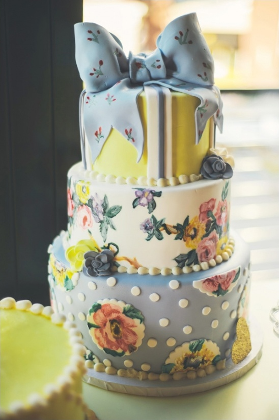 floral wedding cake tied with a bow