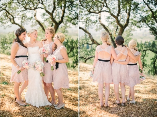 pink bridesmaid dresses with black belts