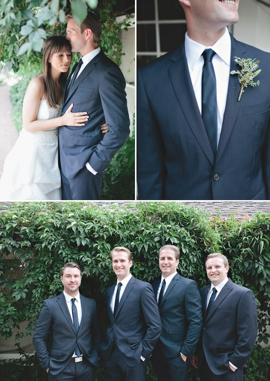 navy pinstripe groom look