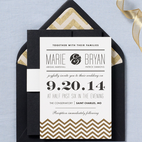 gold wedding invite from paper-source